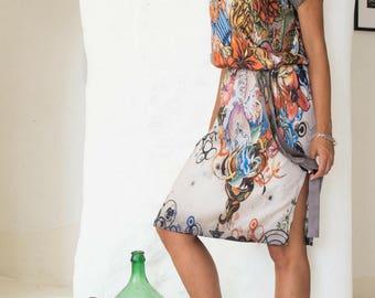 Midi Dress Floral, Floral Dress Midi, Midi Floral Dress, Loose Tunic Dress, Tunic Loose Dress, Short Loose Dress, Tunic Side Slit, Dresses
