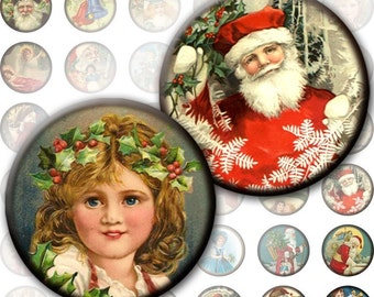 Vintage Christmas framed 1 inch circles for necklaces jewelry making paper bottle cap size (209) Buy 3 - get 1 bonus