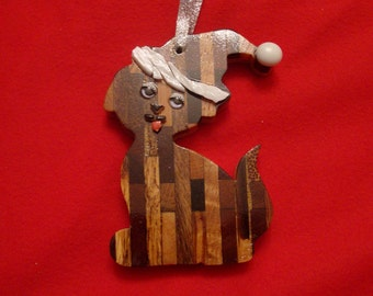 Santa Puppy Christmas Ornaments made from Laminated domestic and exotic hardwoods
