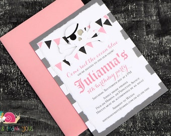 Pink Pirate Party Invitations · A6 LAYERED · Pink and Gray · Skull and Crossbones | Pennants | Punk Princess