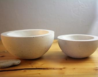 Set of two Concrete Bowls Light Gray, Off White, Decorative Kitchen Houseware, Trinket Dish, Planter/ Pot