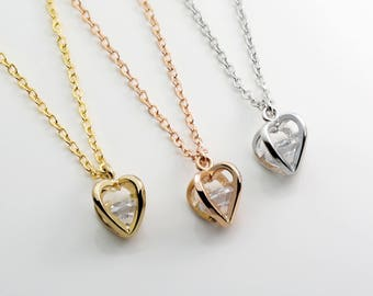 Crystal Heart Pendant Necklace Rose Gold Dainty Rhinestone Cubic Zirconia Anniversary Jewelry Girlfriend Gift For Her Best Selling - 4HZN