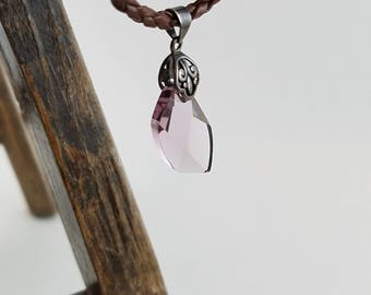 "Purple pendant crystal leather necklace healing crystal necklace boho necklace choker 16"" - 18"" Jo1041"