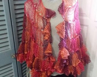 Lacy Large ruffle shawl