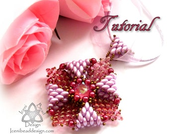 PDF Tutorial Revelation Pendant with Superduo Beads and 14mm Crystal Rivoli Tutorial Beading Pattern English Only,