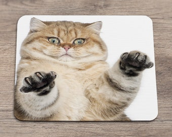 Mousepad with cat Fluffy cat Desk Accessories Mousepad cute Desk decor Mousepad funny Cat paw print White mousepad Office decor CCmp_021