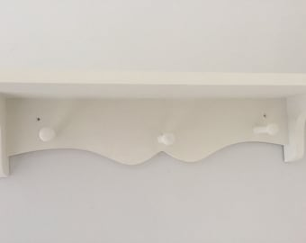 Shabby chic three peg shelf painted old white or pure white 80cms new