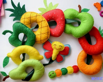 Developing game hungry caterpillar Developing lacing game Felt game Montessori game Sensory game Learning game for baby Educational game