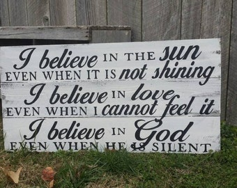 "Rustic Wall Art - ""I Believe in God - Wood Sign"