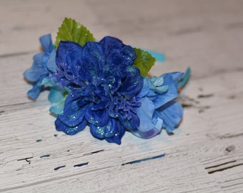 Headband with Blue Glitter Flowers and small Lt. Blue Flowers