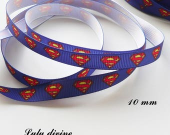 Superman Logo with 10 mm blue grosgrain Ribbon sold by 50 cm