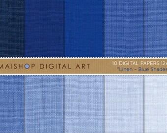 Digital Paper Linen 'Blue Shades' Navy, Blueberry, Denim... Digital Downloads for Online Scrapbooking, Decoupage, Gift Wrapping...