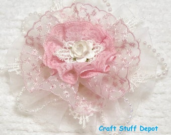 Handmade Flower, Shabby Chic, Lace Rosette, Mixed Media, Embellishment, Package Topper, Head Band, Brooch, Hat Trim, Journal Cover