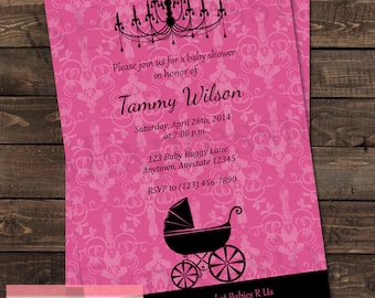 Pink and Black Baby Buggy Baby Shower Invitation