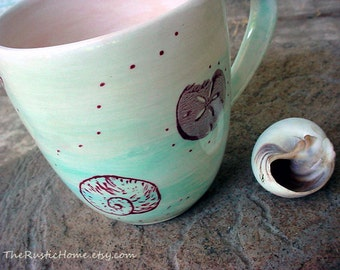 Sea Shell Mug MADE TO ORDER kiln fired pottery mugs