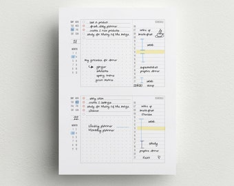 Daily planner - A4, A5 and Letter size - Task Planner - Printable Daily schedule Insert- 2 days on one page
