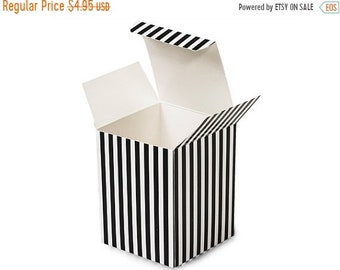 TAX SEASON Stock up 6 Pack Black and White Stripe Paper Tuck Top Style Packaging Retail Gift Boxes 3.25X3.25X3.25 Inch Size