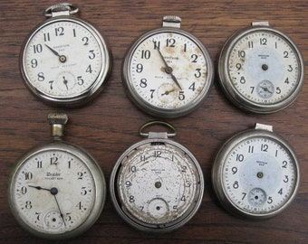 6 Westclox Pocket Watches for Parts or Repurpose Vintage Antique