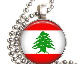 Lebanese Republic Flag Art Pendant, Earrings and/or Keychain, Round Photo Silver and Resin Charm Jewelry, Flag Earrings, Flag Key Fob