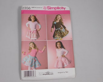 Child's Skirt Slip and Hair Accessories Sewing Pattern, Simplicity 2356, Size A 3 4 5 6 7 8, Tiered Skirt