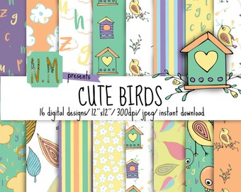 Cute Birds digital paper pack, cute birds digital pattern, birds background, bird house, flowers, letters, baby birds paper pack nursery art
