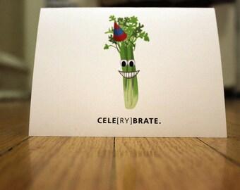 Celerybrate. Blank, Illustrated, Vegetable Pun Greeting Card