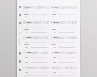 PRINTED Password Keeper A5 | Password Log | Printed Planner Refills | Crossbow Printables Planner Pages | Minimal Black And White Planner