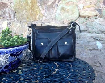 Black Leather Laptop Bag with Cross-Body Strap