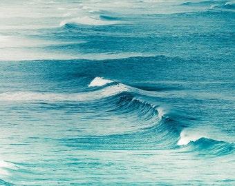 nautical decor waves photography ocean 8x10 24x36 fine art photography beach coastal prints teal waves water photography large scale aqua