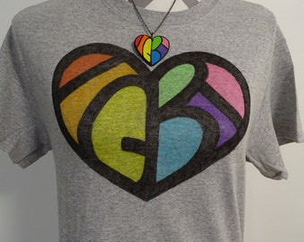LGBT Shirt - Hidden Message - LGBT Pride Shirt - Rainbow Heart - Gay Pride Shirt - Equality Shirt - Rainbow Shirt - Vintage Style Clothing