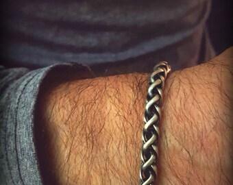 Men's Snake Bracelet, Large Twisted Chain Bracelet, Thick Sterling Bracelet, Antiqued Sterling 6mm Chain Bracelet,Mens Silver Chain Bracelet