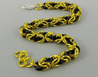 Byzantine Bracelet, Chainmail Bracelet Yellow Black Chainmaille Bracelet, Chain Mail Jewelry
