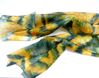 Green and yellow hand dyed scarf. Silk scarf.