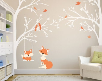 2 Corner TREES Wall Decal Nursery Decor FOX Decal Swinging from Branch Wall Decal Forest Woodland Birds Vinyl Baby Bedroom