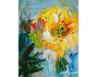 Fragrant Yellow Garden Rose - Original Floral Oil Painting Small Flower Impressionist Art Linen Canvas Flowers Roses Abstract Impasto Thick