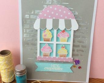 Handmade birthday cupcake window front card