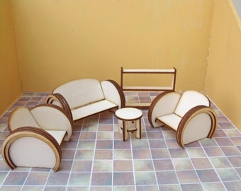 Awesome 1:16th Art Deco Lounge Kit Dolls House