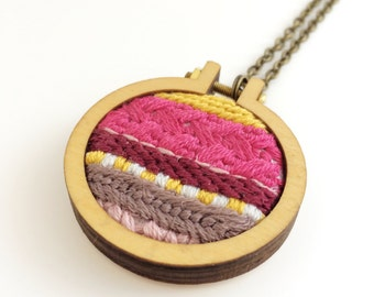 Embroidered necklace – Moroccan-inspired pink, yellow and maroon – embroidery hoop necklace – embroidered jewelry – embroidered pendant