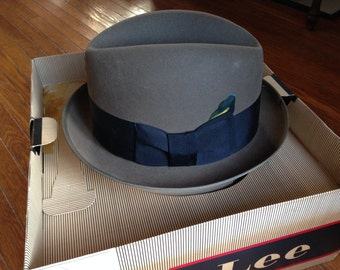 Gray Lee Fedora Hat with Original Box