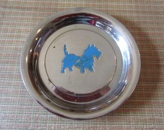 Vintage Scottie dog scotty scottish chrome  tip plate coaster round plate dresser tray