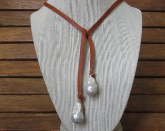 """Baroque Pearl """"Double Take"""" Necklace with Leather on Sterling"""