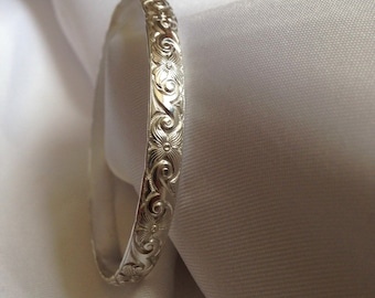 Silver Bangle Bracelet, Swirly Art Deco Style - Custom Sizes and Options, Collectible and Stackable