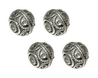 4pc Turkish Silver Beads Antiqued, Turkish Silver Beads, 9x10mm 1mm hole, Sterling Silver Turkish Round Spacer Bead - IT525P