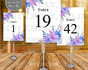 Blue Purple Flowers Table Number Printable || Rustic Floral Wedding || Number 1-50 || Size 4x6 & 5x7 || Digital Files || PDF || SY005