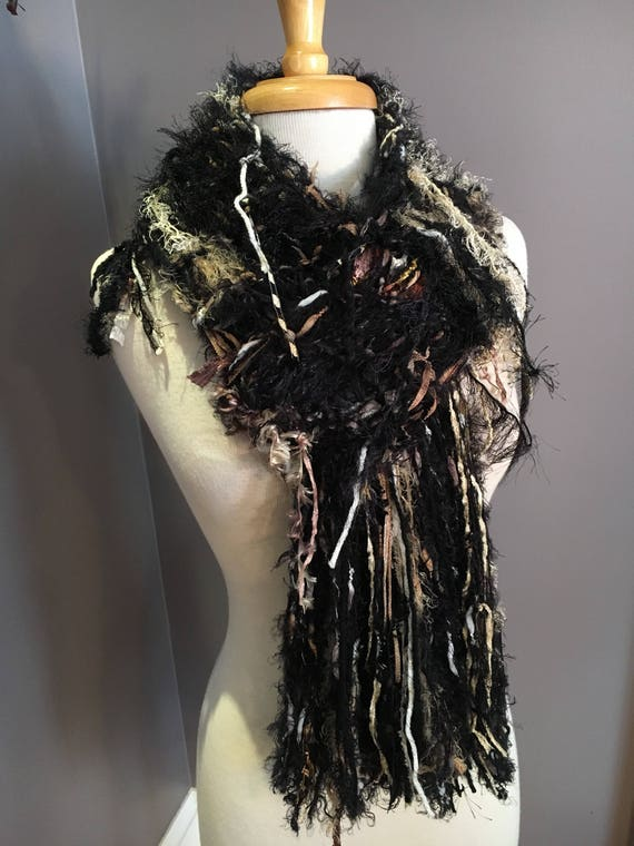 Fringed knit Fashion Scarf, 'Sundae' Dumpster Diva Drop-Knit Fringed Scarf in cream, gold, black for women, boho, fringed scarf, soft scarf