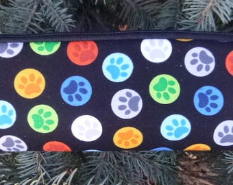 Paw prints padded zippered glasses case with d-ring, Paw Buttons, The Spex