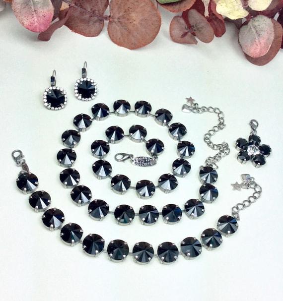 "Swarovski Crystal 12MM Necklace, Bracelet, Earrings & Add- On Flower - Designer Inspired - Jet -""Sophisticated Lady"" - SALE -  FREE SHIPPING"