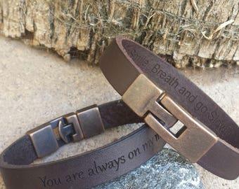 FREE SHIPPING-Hidden Message Bangle,Bracelet For Men,Custom Men Bracelet,Personalize Leather Men Bracelet,Engraved Leather Wristband For Dad