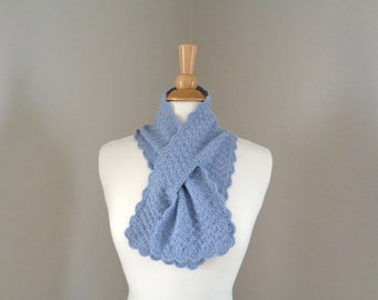 Angora Neck Scarf, Blue Gray, Angora Wool, Hand Knit, Pull Through Keyhole Ascot, Super Soft Fluffy Women's Scarf