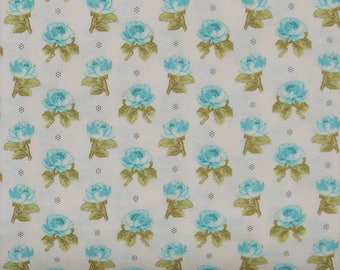 Teal Flower Buds on Light Ivory Background 100% Cotton Quilt Fabric, Aubrey by Whistler Studios for Windham Fabrics, Shabby Chic, WIF42650-1